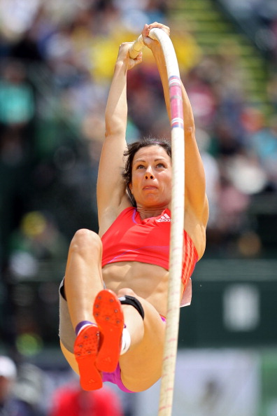 EUGENE, OR - JUNE 24:  Jennifer Suhr competes in the women's pole vault final during Day Three of the 2012 U.S. Olympic Track & Field Team Trials at Hayward Field on June 24, 2012 in Eugene, Oregon.  (Photo by Andy Lyons/Getty Images)