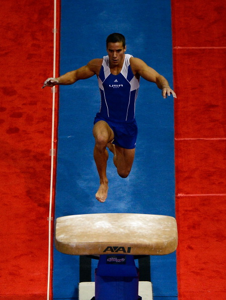 SAN JOSE, CA - JUNE 28:  Jake Dalton competes on the vault during day 1 of the 2012 U.S. Olympic Gymnastics Team Trials at HP Pavilion on June 28, 2012 in San Jose, California.  (Photo by Ronald Martinez/Getty Images)