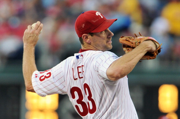 PHILADELPHIA, PA - JULY 24: Cliff Lee #33 of the Philadelphia Phillies delivers a pitch during the game against the Milwaukee Brewers at Citizens Bank Park on July 24, 2012 in Philadelphia, Pennsylvania. (Photo by Drew Hallowell/Getty Images)