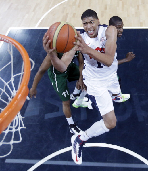 LONDON, ENGLAND - AUGUST 02:  Anthony Davis #14 of the United States scores against Nigeria during the Men's Basketball Preliminary Round match between Nigeria and the United States on Day 6 of the London 2012 Olympic Games at Basketball Arena on August 2, 2012 in London, England.  (Photo by Eric Gay - IOPP Pool /Getty Images)