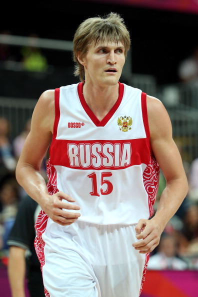 LONDON, ENGLAND - JULY 29:  Andrey Kirilenko #15 of Russia in action against Great Britain during their Men's Basketball Game on Day 2 of the London 2012 Olympic Games at the Basketball Arena on July 29, 2012 in London, England.  (Photo by Christian Petersen/Getty Images)