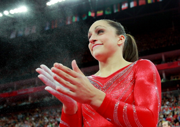 LONDON, ENGLAND - JULY 31:  Jordyn Wieber of the United States of America claps after competing on the floor exercsise in the Artistic Gymnastics Women's Team final on Day 4 of the London 2012 Olympic Games at North Greenwich Arena on July 31, 2012 in London, England.  (Photo by Ronald Martinez/Getty Images)