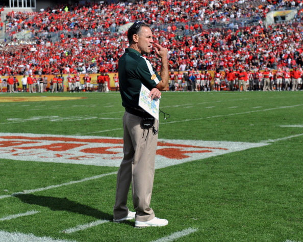 TAMPA, FL - JANUARY 02: Coach Mark Dantonio of the Michigan State Spartans directs play against the Georgia Bulldogs in the Outback Bowl January 2, 2012 at Raymond James Stadium in Tampa, Florida. (Photo by Al Messerschmidt/Getty Images)