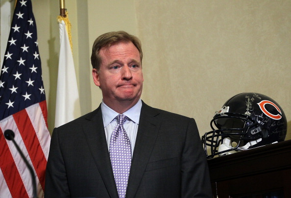 WASHINGTON, DC - JUNE 20:  NFL Commissioner Roger Goodell participates in a news briefing after his meeting with U.S. Senate Majority Whip Sen. Richard Durbin (D-IL) June 20, 2012 on Capitol Hill in Washington, DC. Goodell was on the Hill to discuss bounties in professional sports.  (Photo by Alex Wong/Getty Images)