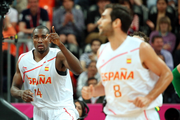 LONDON, ENGLAND - AUGUST 06:  Serge Ibaka #14 of Spain reacts after a play against Brazil during the Men's Basketball Preliminary Round match on Day 10 of the London 2012 Olympic Games at the Basketball Arena on August 6, 2012  in London, England.  (Photo by Christian Petersen/Getty Images)