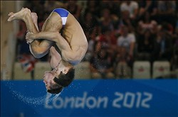 Jul 30, 2012; London, United Kingdom; David Boudia and Nicholas McCrory (USA) compete in the men's 10m platform synchronized diving final during the London 2012 Olympic Games at Aquatics Centre. Mandatory Credit: Rob Schumacher-USA TODAY Sports