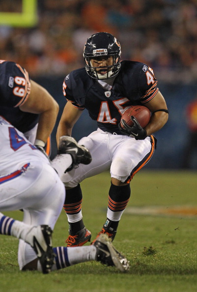 CHICAGO, IL - AUGUST 13: Harvey Unga #45 of the Chicago Bears runs against the Buffalo Bills during a preseason game at Soldier Field on August 13, 2011 in Chicago, Illinois. The Bears defeated the Bills 10-3. (Photo by Jonathan Daniel/Getty Images)