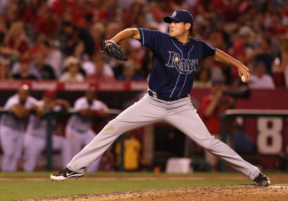 ANAHEIM, CA - JULY 28: Matt Moore #55 of the Tampa Bay Rays pitches against the Los Angeles Angels of Anaheim at Angel Stadium of Anaheim on July 28, 2012 in Anaheim, California. (Photo by Josh Hedges/Getty Images)