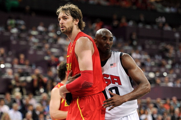 LONDON, ENGLAND - AUGUST 12:  Kobe Bryant #10 of the United States and Pau Gasol #4 of Spain look on during the Men's Basketball gold medal game between the United States and Spain on Day 16 of the London 2012 Olympics Games at North Greenwich Arena on August 12, 2012 in London, England.  (Photo by Harry How/Getty Images)
