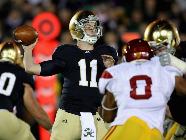 SOUTH BEND, IN - OCTOBER 22: Tommy Rees #11 of the Notre Dame Fighting Irish throws a pass against the University of Southern California Trojans at Notre Dame Stadium on October 22, 2011 in South Bend, Indiana. (Photo by Jonathan Daniel/Getty Images)