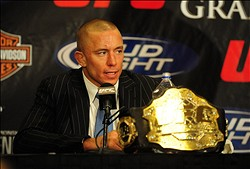 Jan. 31, 2009; Las Vegas, NV, USA; UFC fighter Georges St-Pierre during the post fight press conference after defeating B.J. Penn (not pictured) during the welterweight championship in UFC 94 at the MGM Grand Hotel and Casino. St-Pierre defeated Penn with a fourth round TKO. Mandatory Credit: Mark J. Rebilas-US PRESSWIRE