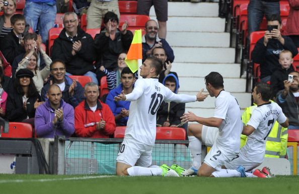 MANCHESTER, UNITED KINGDOM - JULY 29: Chris Wood of New Zealand celebrates his goal during the Men's Football first round Group C Match between Egypt and New Zealand on Day 2 of the London 2012 Olympic Games at Old Trafford on July 29, 2012 in Manchester, England. (Photo by Francis Bompard/Getty Images)
