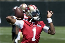 July 27, 2012; Santa Clara, CA, USA; San Francisco 49ers quarterback Josh Johnson (1) throws a pass during training camp at the 49ers practice facility.  Mandatory Credit: Ed Szczepanski-US PRESSWIRE