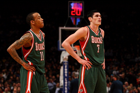 NEW YORK, NY - MARCH 26:  (L-R) Monta Ellis #11 and Ersan Ilyasova #7 of the Milwaukee Bucks look on against the New York Knicks at Madison Square Garden on March 26, 2012 in New York City. NOTE TO USER: User expressly acknowledges and agrees that, by downloading and or using this photograph, User is consenting to the terms and conditions of the Getty Images License Agreement.  (Photo by Chris Chambers/Getty Images)