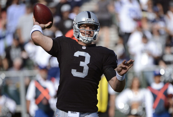 OAKLAND, CA - AUGUST 13:  Carson Palmer #3 of the Oakland Raiders drops back to pass against the Dallas Cowboys in the first quarter of an NFL pre-season football game at O.co Coliseum on August 13, 2012 in Oakland, California.  (Photo by Thearon W. Henderson/Getty Images)