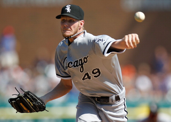 DETROIT, MI - JULY 21: Chris Sale #49 of the Chicago White Sox throws a second inning pitch while playing the Detroit Tigers at Comerica Park on July 21, 2012 in Detroit, Michigan.  (Photo by Gregory Shamus/Getty Images)