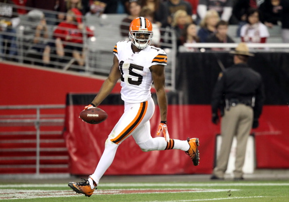 GLENDALE, AZ - DECEMBER 18:  Wide receiver Greg Little #15 of the Cleveland Browns celebrates after scoring on a 76 yard touchdown reception against the Arizona Cardinals during the thrid quarter of the NFL game at the University of Phoenix Stadium on December 18, 2011 in Glendale, Arizona. The Cardinals defeated the Browns 20-17 in overtime.  (Photo by Christian Petersen/Getty Images)