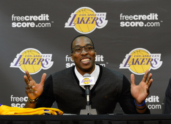 EL SEGUNDO, CA - AUGUST 10:  Dwight Howard speaks after being introduced to the media as the newest member of the Los Angeles Lakers during a news conference at the Toyota Sports Center on August 10, 2012 in El Segundo, California. The Lakers aquired Howard from Orlando Magic in a four-team trade. In addition Lakers wil receive Chris Duhon and Earl Clark from the Magic.  (Photo by Kevork Djansezian/Getty Images)