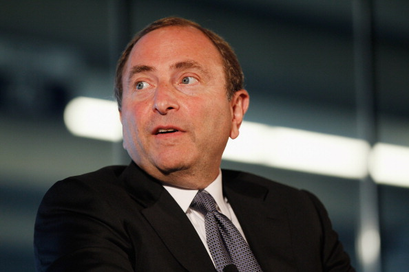 NEW YORK, NY - SEPTEMBER 27:  NHL Commissioner Gary Bettman speaks to attendees during 'Sports Teams for Social Change,' hosted by Beyond Sport United on September 27, 2011 at Yankee Stadium in the Bronx borough of New York City.  (Photo by Mike Stobe/Getty Images)