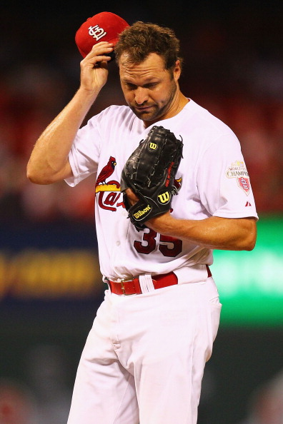 ST. LOUIS, MO - AUGUST 6: Jake Westbrook #35 of the St. Louis Cardinals reacts to giving up a home run against the San Francisco Giants at Busch Stadium on August 6, 2012 in St. Louis, Missouri.  (Photo by Dilip Vishwanat/Getty Images)