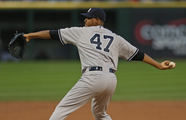 CHICAGO, IL - AUGUST 21:  Starting pitcher Ivan Nova #47 of the New York Yankees delivers the ball against the Chicago White Sox at U.S. Cellular Field on August 21, 2012 in Chicago, Illinois.  (Photo by Jonathan Daniel/Getty Images)