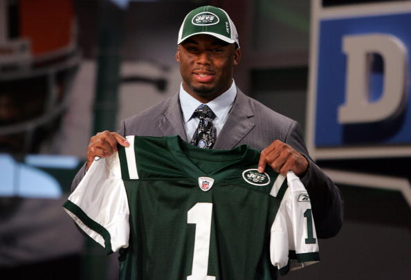 NEW YORK - APRIL 26:  Vernon Gholston poses for a photo after being selected as the sixth overall pick by the New York Jets during the 2008 NFL Draft on April 26, 2008 at Radio City Music Hall in April 26, 2008 in New York City.  (Photo by Jim McIsaac/Getty Images)
