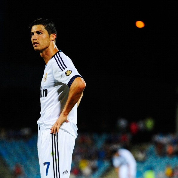 GETAFE, SPAIN - AUGUST 26: Cristiano Ronaldo of Real Madrid reacts during the la Liga match between Getafe and Real Madrid at Coliseum Alfonso Perez on August 26, 2012 in Getafe, Spain.  (Photo by Gonzalo Arroyo Moreno/Getty Images)