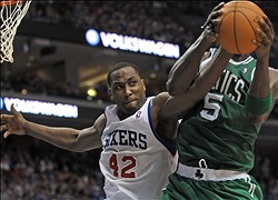 May 23, 2012; Philadelphia, PA USA; Philadelphia 76ers power forward Elton Brand (42) reaches for rebound against Boston Celtics power forward Kevin Garnett (5) during the second quarter of game six of the Eastern Conference semifinals of the 2012 NBA Playoffs at the Wells Fargo Center. Mandatory Credit: Eric Hartline-US PRESSWIRE