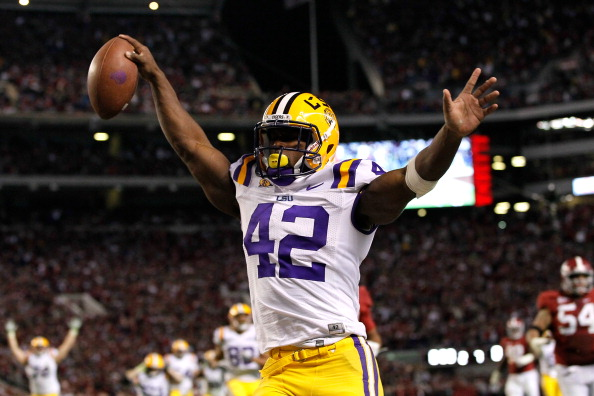 TUSCALOOSA, AL - NOVEMBER 05:  Michael Ford #42 of the LSU Tigers scores a touchdown in overtime that was called back after Ford stepped out of bounds against the Alabama Crimson Tide at Bryant-Denny Stadium on November 5, 2011 in Tuscaloosa, Alabama.  (Photo by Kevin C. Cox/Getty Images)