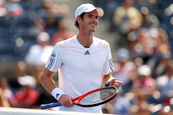 NEW YORK, NY - AUGUST 27:  Andy Murray of Great Britain smiles during his men's singles first round match against Alex Bogomolov Jr. of Russia on Day One of the 2012 US Open at USTA Billie Jean King National Tennis Center on August 27, 2012 in the Flushing neigborhood of the Queens borough of New York City.  (Photo by Matthew Stockman/Getty Images)