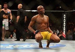 Jul. 7, 2012; Las Vegas, NV, USA; UFC fighter Anderson Silva (right) celebrates after defeating Chael Sonnen during a middleweight bout in UFC 148 at the MGM Grand Garden Arena. Mandatory Credit: Mark J. Rebilas-US PRESSWIRE