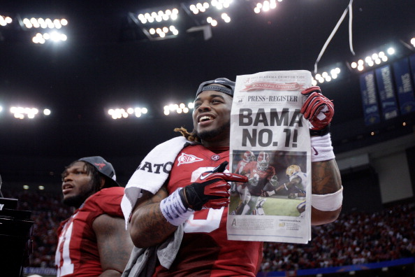 NEW ORLEANS, LA - JANUARY 09:  Trent Richardson #3 of the Alabama Crimson Tide celebrates after defeating Louisiana State University Tigers in the 2012 Allstate BCS National Championship Game at Mercedes-Benz Superdome on January 9, 2012 in New Orleans, Louisiana. Alabama  won the game by a score of 21-0.  (Photo by Andy Lyons/Getty Images)