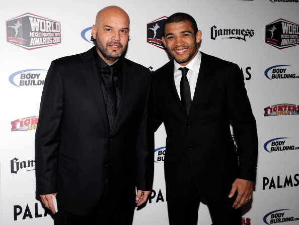 LAS VEGAS, NV - DECEMBER 01:  Mixed martial artist Jose Aldo (R) and his manager Ed Soares arrive at the third annual Fighters Only World Mixed Martial Arts Awards 2010 at the Palms Casino Resort December 1, 2010 in Las Vegas, Nevada.  (Photo by Ethan Miller/Getty Images)