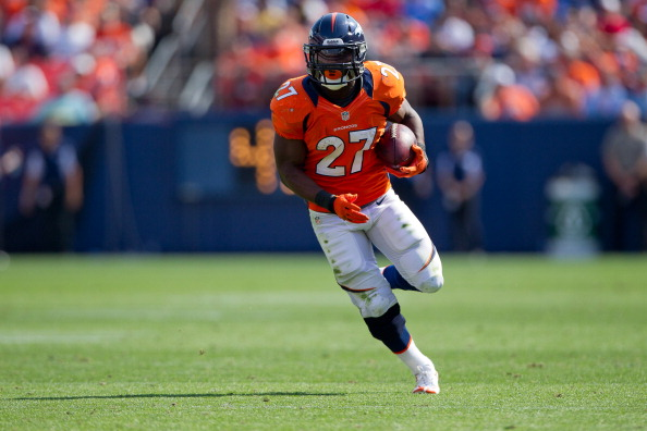 DENVER, CO - AUGUST 26:  Running back Knowshon Moreno #27 of the Denver Broncos in action during a pre-season game against the San Francisco 49ers at Sports Authority Field Field at Mile High on August 26, 2012 in Denver, Colorado. (Photo by Justin Edmonds/Getty Images)