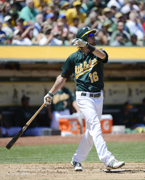OAKLAND, CA - AUGUST 05:  Josh Reddick #16 of the Oakland Athletics hits a three-run home run in the third inning against the Toronto Blue Jays at O.co Coliseum on August 5, 2012 in Oakland, California.  (Photo by Thearon W. Henderson/Getty Images)