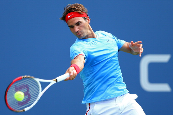 NEW YORK, NY - SEPTEMBER 01:  Roger Federer of Switzerland returns a shot against  Fernando Verdasco of Spain during their men's singles third round match on Day Six of the 2012 US Open at USTA Billie Jean King National Tennis Center on September 1, 2012 in the Flushing neighborhood of the Queens borough of New York City.  (Photo by Al Bello/Getty Images)