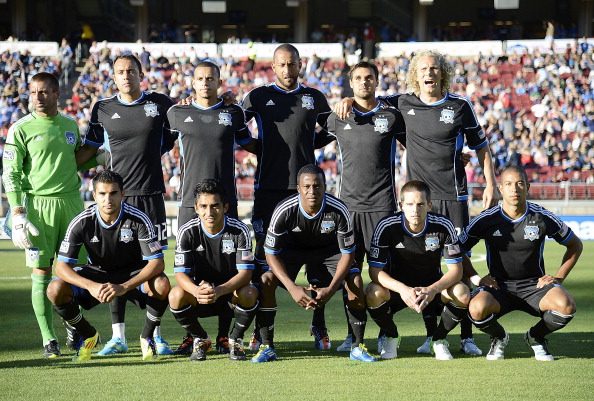 PALO ALTO, CA - JUNE 30:  San Jose Earthquakes starting line up poses for a team photo before the start of their game against the Los Angeles Galaxy at Stanford Stadium on June 30, 2012 in Palo Alto, California. The Earthquakes won the game 4-3. (Photo by Thearon W. Henderson/Getty Images)
