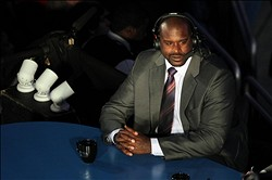 February 25, 2012; Orlando FL, USA; TNT anchor and former player Shaquille O'Neal reports on air before the 2012 NBA All-Star Shooting Stars competition at the Amway Center. Mandatory Credit: Kim Klement-US PRESSWIRE