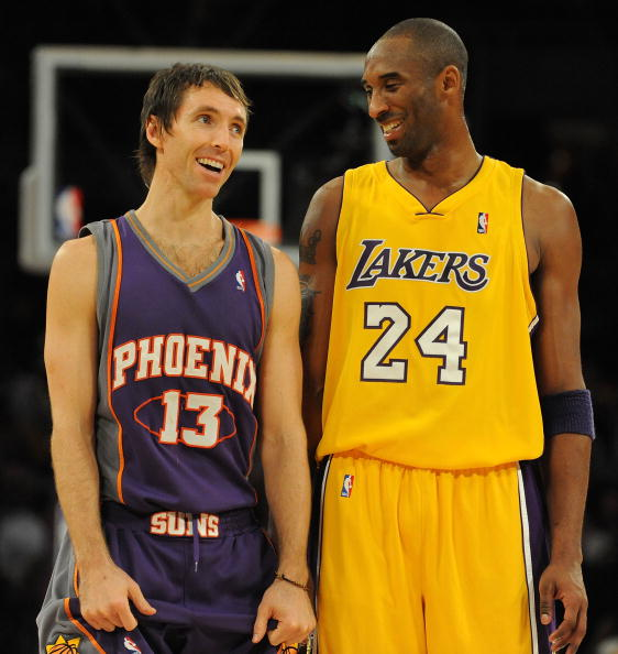 LOS ANGELES, CA - DECEMBER 10:  Steve Nash #13 of the Phoenix Suns laughs with Kobe Bryant #24 of the Los Angeles Lakers during the second half at the Staples Center on December, 10 2008 in Los Angeles, California.   NOTE TO USER: User expressly acknowledges and agrees that, by downloading and/or using this Photograph, user is consenting to the terms and conditions of the Getty Images License Agreement.  (Photo by Harry How/Getty Images)