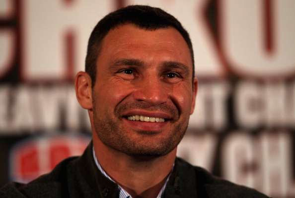 LONDON, ENGLAND - JANUARY 09:  WBC World Heavyweight Champion Vitali Klitschko of the Ukraine addresses the media during a press conference at The Landmark Hotel on January 9, 2012 in London, England.  (Photo by Andrew Redington/Getty Images)
