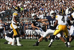 October 8, 2011; State College, PA, USA; Penn State Nittany Lions kicker Anthony Fera (30) kicks a short field goal in the first quarter against the Iowa Hawkeyes at Beaver Stadium. Mandatory Credit: Rob Christy-US PRESSWIRE