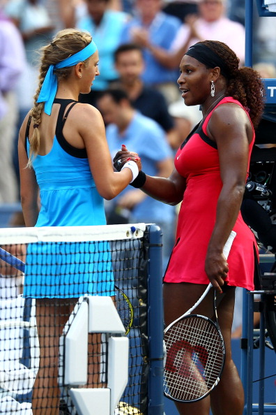 NEW YORK, NY - SEPTEMBER 03:  Serena Williams (R) of the United States shakes hands with Victoria Azarenka (L) of Belarus after defeating her in their match during Day Six of the 2011 US Open at the USTA Billie Jean King National Tennis Center on September 3, 2011 in the Flushing neighborhood of the Queens borough of New York City.  (Photo by Julian Finney/Getty Images)