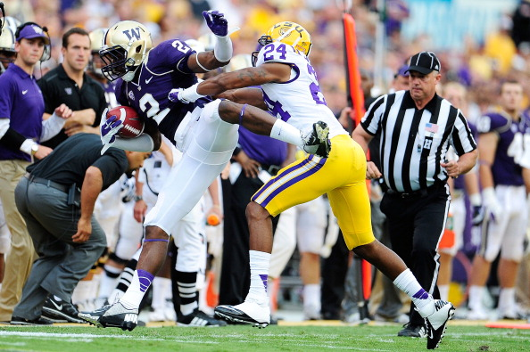 BATON ROUGE, LA - SEPTEMBER 08: Kasen Williams #2 of the Washington Huskies is unable to catch a pass inbounds while being defended by Tharold Simon #24 of the LSU Tigers during a game at Tiger Stadium on September 8, 2012 in Baton Rouge, Louisiana. (Photo by Stacy Revere/Getty Images)