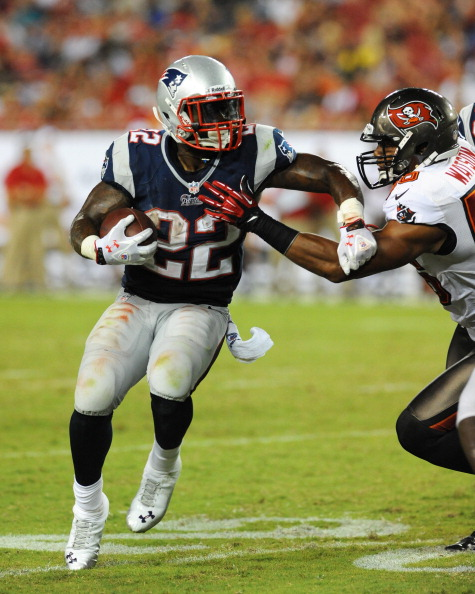 TAMPA, FL - AUGUST 24:  Running back Stevan Ridley #22 of the New England Patriots rushes upfield against the Tampa Bay Buccaneers at Raymond James Stadium in a pre-season game August 24, 2012  in Tampa, Florida. The Bucs won 30 - 28. (Photo by Al Messerschmidt/Getty Images)