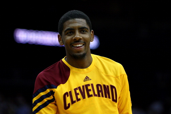 NEWARK, NJ - MARCH 19:  Kyrie Irving #2 of the Cleveland Cavaliers looks on during warm ups against the New Jersey Nets at Prudential Center on March 19, 2012 in Newark, New Jersey.  NOTE TO USER: User expressly acknowledges and agrees that, by downloading and or using this photograph, User is consenting to the terms and conditions of the Getty Images License Agreement.  (Photo by Chris Chambers/Getty Images)