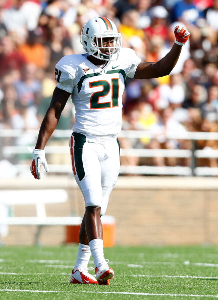 CHESTNUT HILL, MA - SEPTEMBER 01:  Brandon McGee #21 of the Miami Hurricanes in action against the Boston College Eagles during the game on September 1, 2012 at Alumni Stadium in Chestnut Hill, Massachusetts.  (Photo by Jared Wickerham/Getty Images)