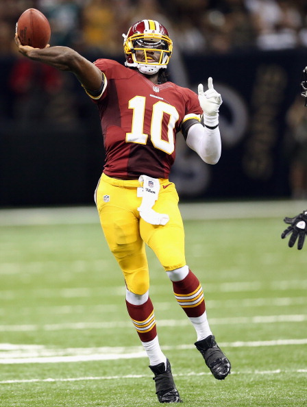 NEW ORLEANS, LA - SEPTEMBER 09:  Robert Griffin III #10 of the Washington Redskins throws against the New Orleans Saints during the season opener at Mercedes-Benz Superdome on September 9, 2012 in New Orleans, Louisiana.  (Photo by Ronald Martinez/Getty Images)