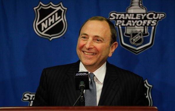 CHICAGO - MAY 03: Commissioner Gary Bettman of the National Hockey League speaks at a press conference before the Chicago Blackhawks take on the Vancouver Canucks in Game Two of the Western Conference Semifinals during the 2010 NHL Stanley Cup Playoffs at United Center on May 3, 2010 in Chicago, Illinois. (Photo by Jonathan Daniel/Getty Images)