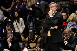 Feb 9, 2012; Evanston, IL, USA; Iowa Hawkeyes head coach Fran McCaffery reacts during the second half against the Northwestern Wildcats at Welsh-Ryan Arena. Northwestern won 83-64. Mandatory Credit: Tommy Giglio-US PRESSWIRE