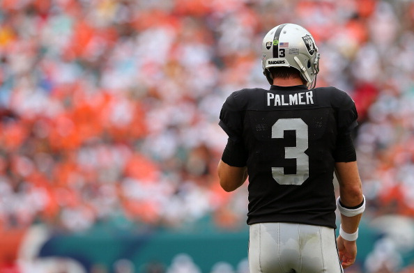 MIAMI GARDENS, FL - SEPTEMBER 16:  Carson Palmer #3 of the Oakland Raiders looks on during a game against the Miami Dolphins at Sun Life Stadium on September 16, 2012 in Miami Gardens, Florida.  (Photo by Mike Ehrmann/Getty Images)